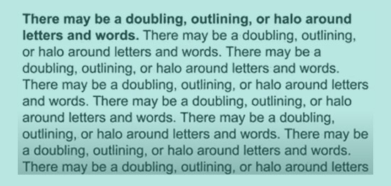 Halo reading distortion, view under overlay